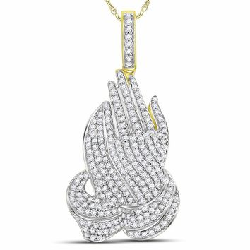 10kt Yellow Gold Mens Round Diamond Praying Hands Charm Pendant 1-1/2 Cttw