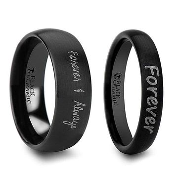 Domed Black Tungsten Wedding Band Set With Custom Handwriting Engraved 2mm- 12mm