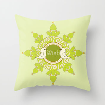 Cute Birds Organic Green Girly Throw Pillows: Wish Birds - Wish Birds Hope Your Wish Comes True