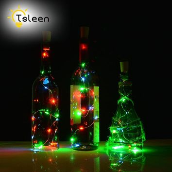 1PC String LED Wine Bottle  Silver, Outdoor Lighting 2M 20LEDS Wedding Party Decoration
