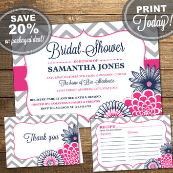 Bridal Shower Package, Invitation, Recipe Card, Thank You Card, Chevron, Flowers, Navy Blue, Pink, Printable (INSTANT Download)