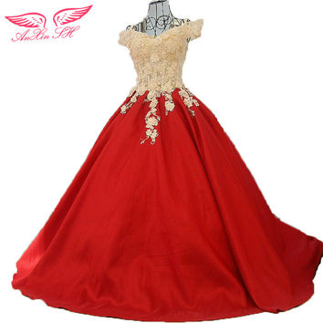 AnXin SH Promotional Korean red bow bride evening dress trailing red flower evening dress 100% Real Pictures xj32774 ZL2651