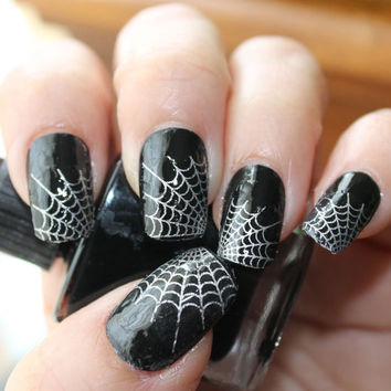 Free Shipping - 29 Silver SPIDER WEB Nail Art Tips (WTS) - Professional Results Waterslide Decals - Not Stickers or Vinyl