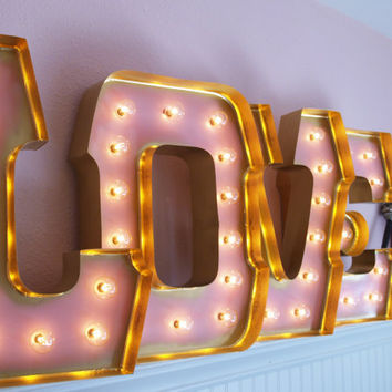 love marquee letters with gold edging alphabet light sign