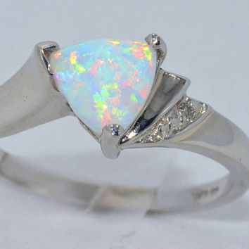 Opal Trillion Diamond Ring .925 Sterling Silver Rhodium Plated