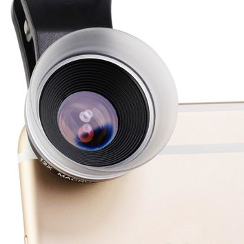 ZOMEI 17mm 24X Black Smart Phone Close-up Magnified Marco Lens Filter Transparent White Hood with Clip