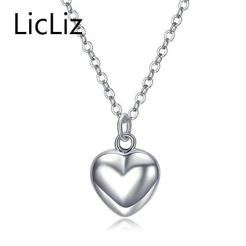 LicLiz Trendy 925 Sterling Silver Mirror Polish Heart Pendant Necklace Long Link Chain Vintage Wedding Jewelry For Women LN0190