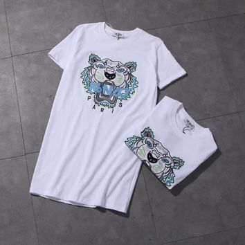 """Kenzo"" Women Casual Fashion Tiger Head Embroidery Short Sleeve Middle Long Section T-shirt Dress"