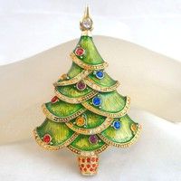 Large CHRISTOPHER RADKO Rhinestone Accented Green Enamel Christmas Tree Pin