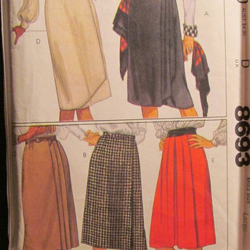 SALE Uncut McCall's Sewing Pattern, 8693! Large/Women's/Misses/Pleated Skirts/Wrap Skirts/Gathered Skirts/Knee-Calf Length/Summer/Spring/For