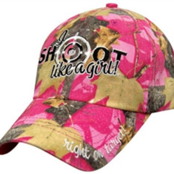 Womens Pink Camo Baseball Cap I Shoot Like a Girl-Rhinestone Accents Adjustable