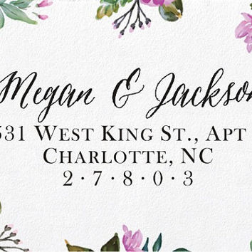 Return Address Stamp - Calligraphy stamp - Custom wedding address stamp - Self-Inking Personalized Stamp (B32)