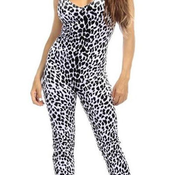 Sexy Shred Stretch Supportive Cut Out Back Work Out Cat Suit - Snow Leopard