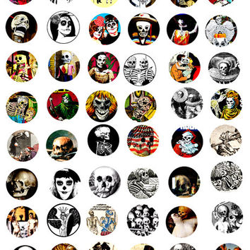 "day of the dead skulls skeletons clip art digital download collage death grim reaper 1"" circles bottle cap pendants images"