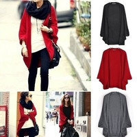 Women Loose Knitted Outwear Cardigan Shawl Coat Oversized Batwing Sleeve Sweater = 1946568068