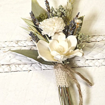 Dried Lavender, Sola Flower Boutonniere, Rustic, Country, Natural Wedding with Burlap and Jute