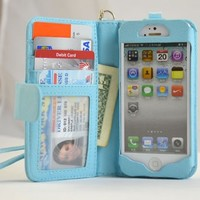 Navor Protective Flip Wallet Case for iPhone 5 & iPhone 5S - Light Blue (IP5OLB)