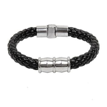 Best Selling Italian Style Black Leather Braid Bracelet