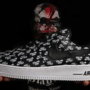 PEAPON Nike Air Force 1 Logo Print Black For Women Men Running Sport Casual Shoes Sneakers