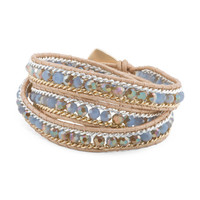 Czech Crystal Beaded Leather Wrap Bracelet - Jewelry & Accessories - T.J.Maxx