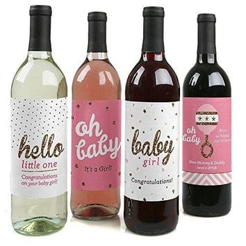 Hello Little One  Pink and Gold  Wine Bottle Labels Girl Baby Shower Gift  Set of 4