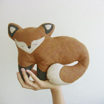 Plush Fox Doll stuffed animal eco plush dolls - Fauna Friends Collection by Fawn and Sea - handmade with recycled felt & fill