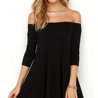 Rock the Bateau Black Off-the-Shoulder Dress