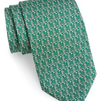 Men's Salvatore Ferragamo Golf Print Silk Tie, Size Regular