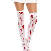 White/Red Bloody Stocking Thigh High