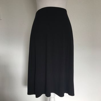 LANDS' END Women's Plus Size 3X 24W - 26W Black Flare Stretch Midi Skirt
