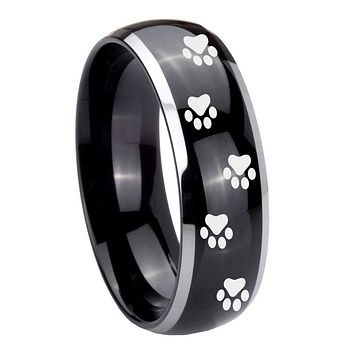 8MM Glossy Black Dome Paw Print Design 2 Tone Tungsten Laser Engraved Ring