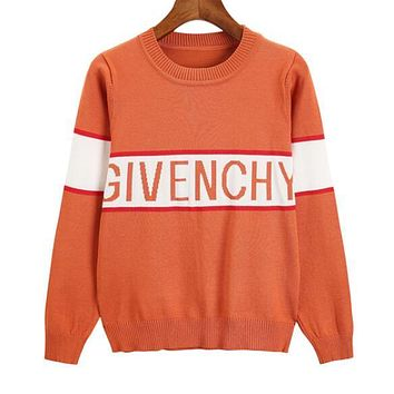 GIVENCHY Newest Popular Women Casual Jacquard Knit Long Sleeve Round Collar Thin Sweater Top Sweatshirt Orange