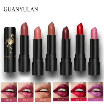 GUANYULAN Brand 6 Colors Velvet Semi Matte Lipstick Makeup Moisturizing Long Lasting Easy to Wear Cosmetics Non drying Lip Gloss
