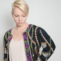 Vintage Sweelo Beaded Tassel Crop Jacket
