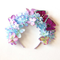 fairy dust blue flower crown headband - spring racing carnival hair fascinator, festival headpiece, garden party, lana del rey