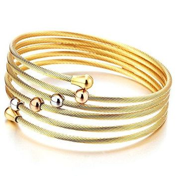 Elastic Adjustable Ladies Steel Twisted Cable Cuff Bangle Bracelet Elastic Multilap Silver Gold Twotone