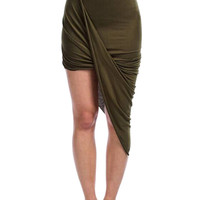 Olive Green Twisted Asymmetric Mini Skirt