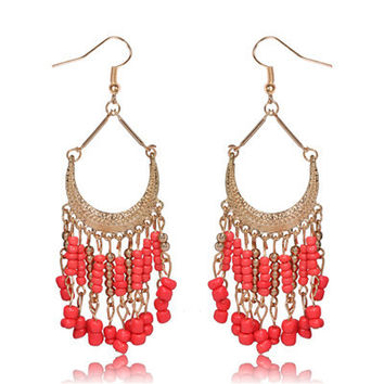 Trendy Pearl Long Drop Chandelier Earrings