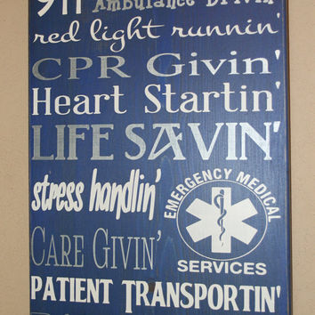 Paramedic Wall Art, EMS Decor, Distressed Wall Decor, Custom Wood Sign, Paramedic/EMS Subway Sign - 911 Respondin'