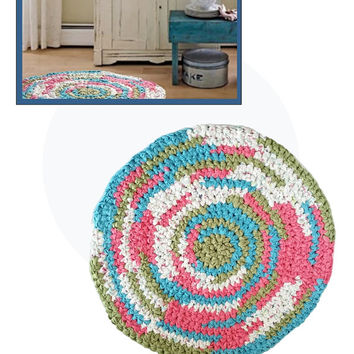 Country Area Rug handmade washable cotton fabric crochet reversible ecofriendly girl bedroom bathroom home decor with underlay padding
