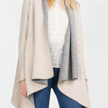 Collarless Color Block Long Sleeve Cardigan