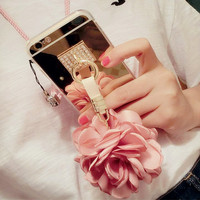 Silk Flora Charm Phone Case For iPhone 7 7s for iphone 7 7s plus for iphone6 6s plus, Mirror flower phone case