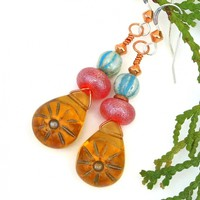 Golden Sun Earrings, Amber Red Turquoise Boho Handmade Summer Jewelry