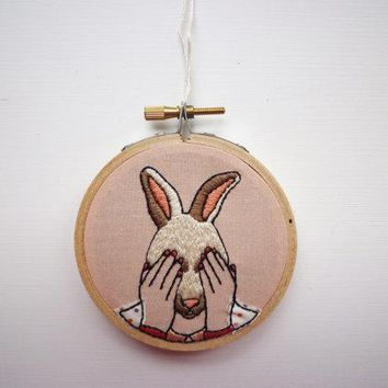 Modern Embroidery 'bunny Girl' 3inch Hoop Art