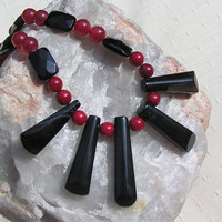 "Black Onyx & Natural Red Coral Crystal Gemstone Fan Necklace - ""Crimson Nights"""