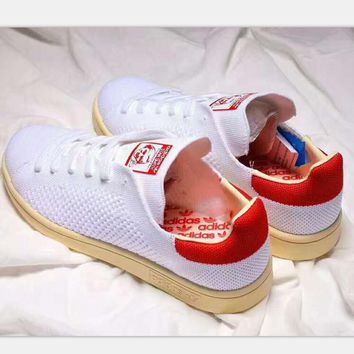 One-nice™ Adidas stan smith sports casual shoes white-red logo khaki soles H-PSXY