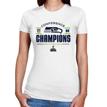 Seattle Seahawks 2013 NFC Champions Ladies Trophy Collection T-Shirt - White