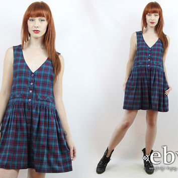 614c2c57906 Vintage 90s Blue Plaid Babydoll Dress S M L 90s Grunge Dress Blu