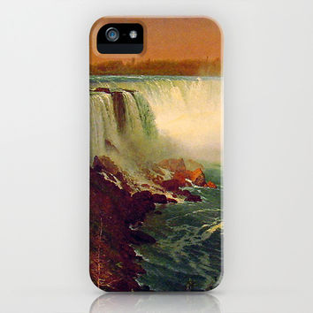 Bierstadt Albert. Niagara Falls.  Vintage landscape oil painting. iPhone & iPod Case by ArtsCollection