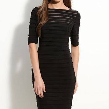 Women's Adrianna Papell Pleated Illusion Sheath Dress